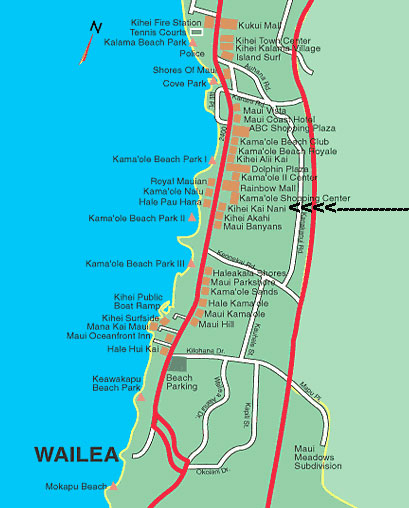 Location and maps kihei kai nani maui condos kihei kai nani aerial view south kihei and location of kihei kai nani resort map of maui sciox Gallery