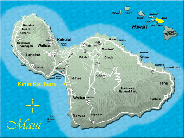 Airports In Maui Hawaii Map.Location And Maps Kihei Kai Nani Maui Condos
